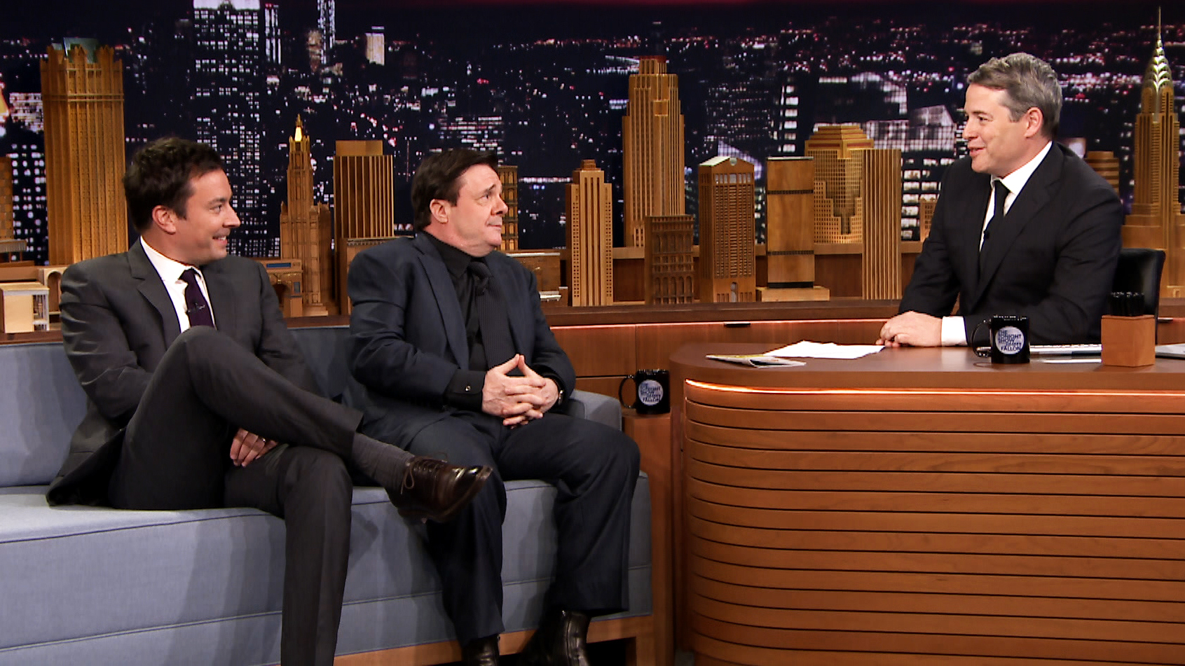 Matthew Broderick Nathan Lane And Jimmy Interview Each