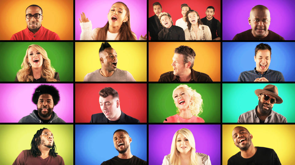 "Jimmy Fallon, The Roots and Music Superstars Sing ""We Are the Champions"" (A Cappella)"