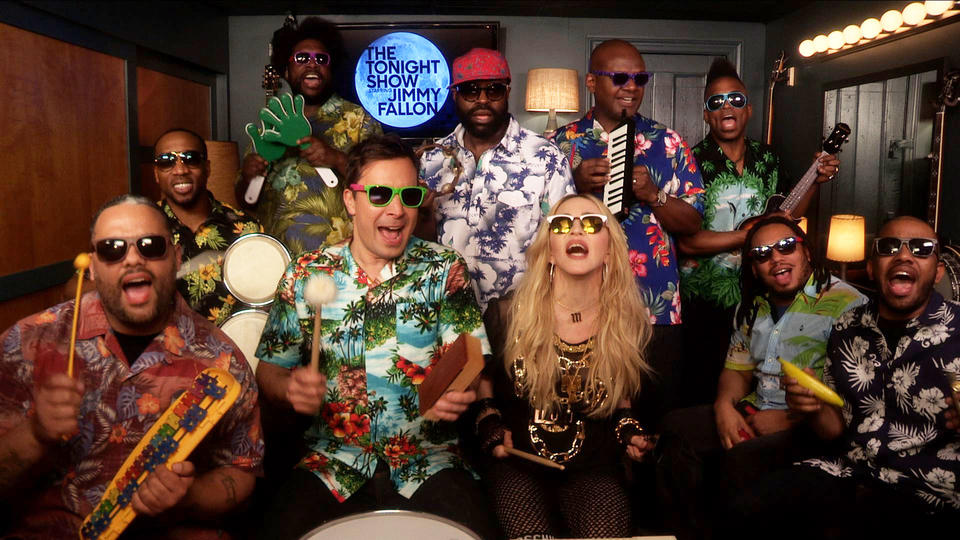 """Jimmy Fallon, Madonna & The Roots Sing """"Holiday"""" (w/ Classroom Instruments)"""