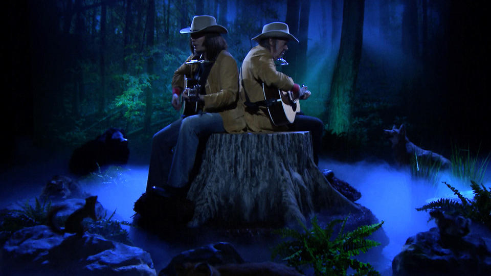 Two Neil Youngs on a Tree Stump