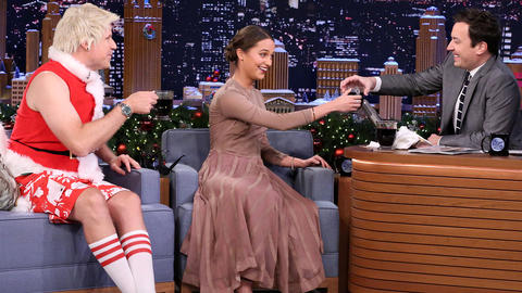 Alicia Vikander Shares Swedish Glogg with Will Ferrell and Jimmy
