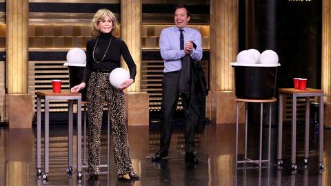 Giant Beer Pong with Jane Fonda