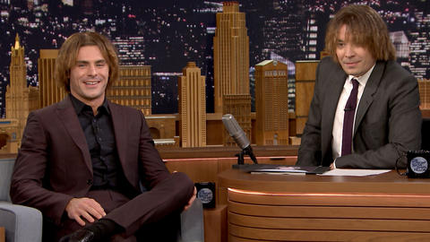 Zac Efron and Jimmy Try Out Zac's Crimped Eighth-Grade Hairstyle