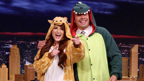 Meghan Trainor Gives Jimmy a Dinosaur Onesie