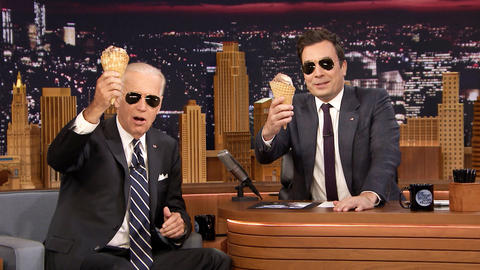 Vice President Joe Biden Shares an Ice Cream Cone with Jimmy