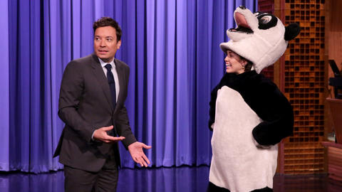 Miley Cyrus Crashes The Tonight Show as Hashtag the Panda