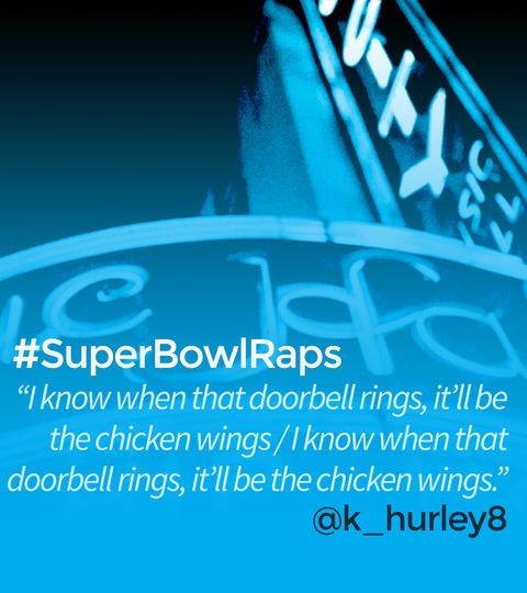 Hashtags: #SuperBowlRaps