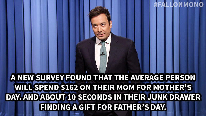 A new survey found that the average person will spend 162 dollars on their mom for Mother's Day. And about 10 seconds in their junk drawer finding a gift for Father's Day.
