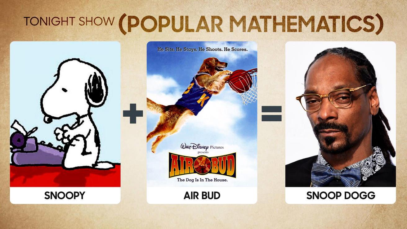 Arithmetic >> Popular Mathematics: Snoopy + Air Bud = Snoop Dogg - The Tonight Show